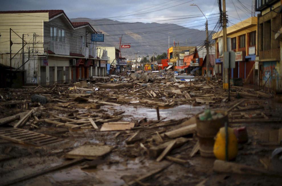 Город и морской порт в Чили Чаньяраль после ливней