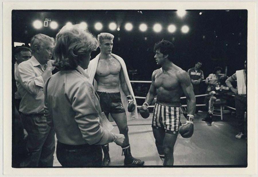 Дольф Лунгрен и Сильвестр Сталлоне на съёмках фильма «Рокки-4».