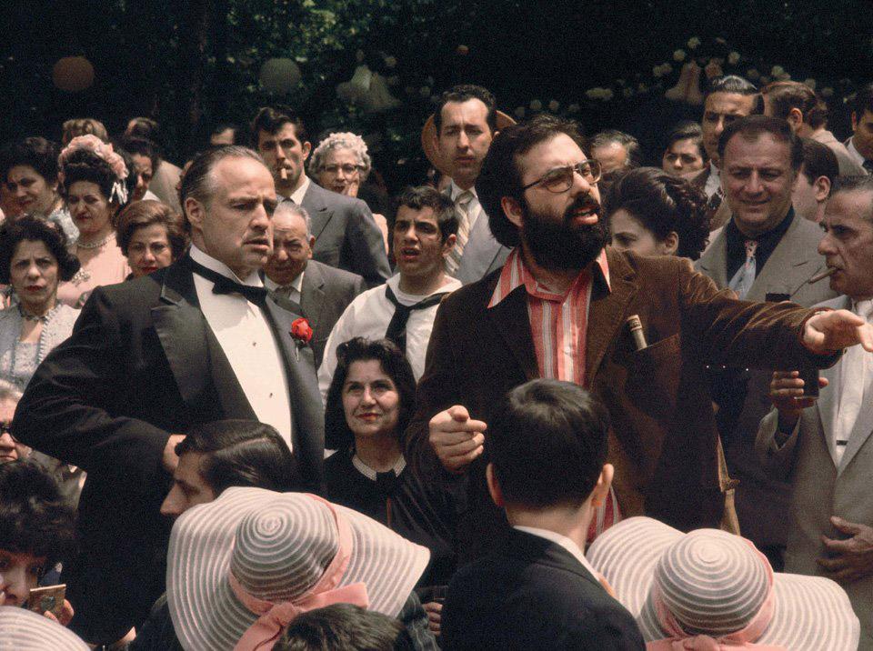 . Марлон Брандо и Фрэнсис Форд Коппола на съемках «Крестного отца», 1972 год.