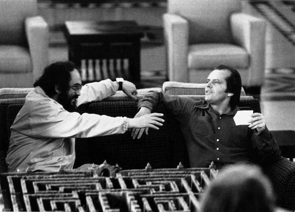 Стэнли Кубрик и Джек Николсон на съемках «Сияния», 1980 год
