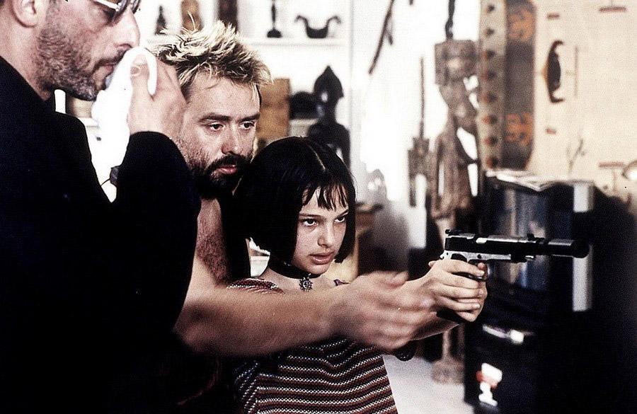 Жан Рено, Люк Бессон и Натали Портман на съёмках фильма «Леон»