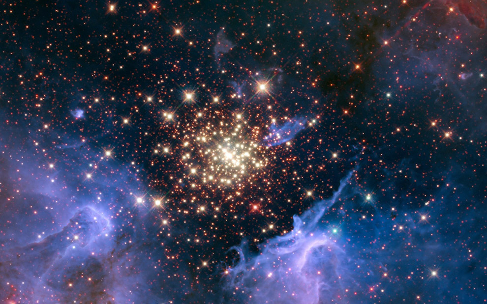 Abrir aglomerado de estrelas NGC 3603, na constelação de Carina