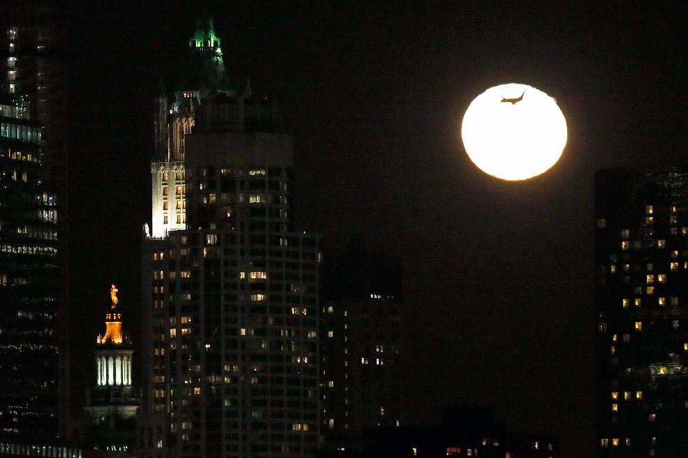 Луна и самолет на ней в Нью-Джерси
