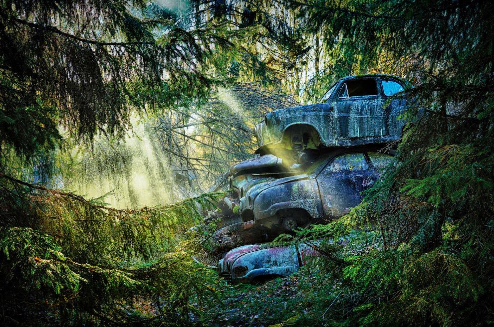 Кладбище машин в в Швеции