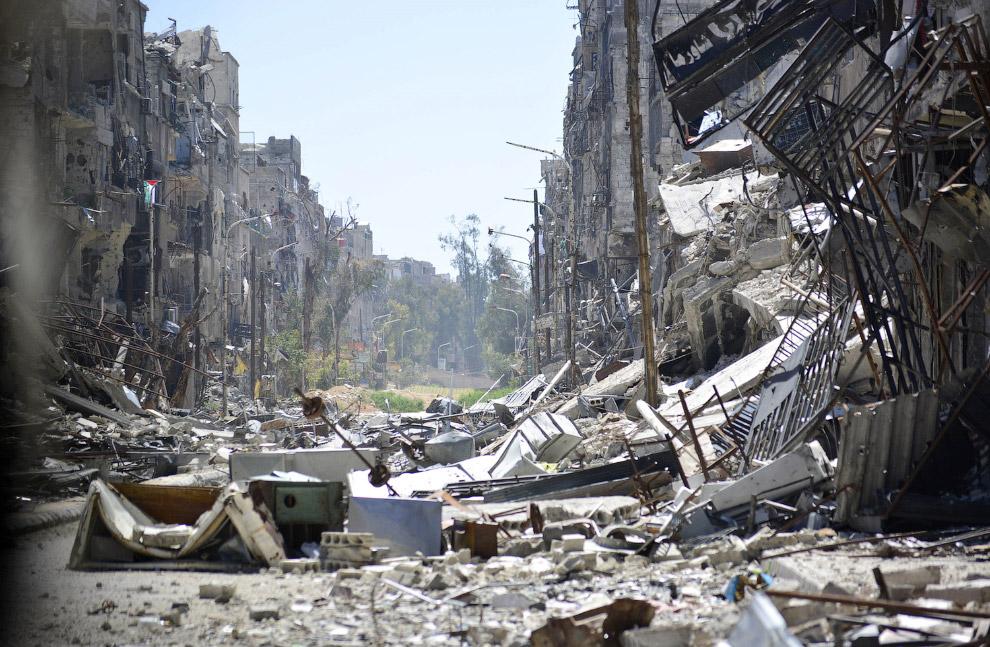 Руины квартала в Дамаске