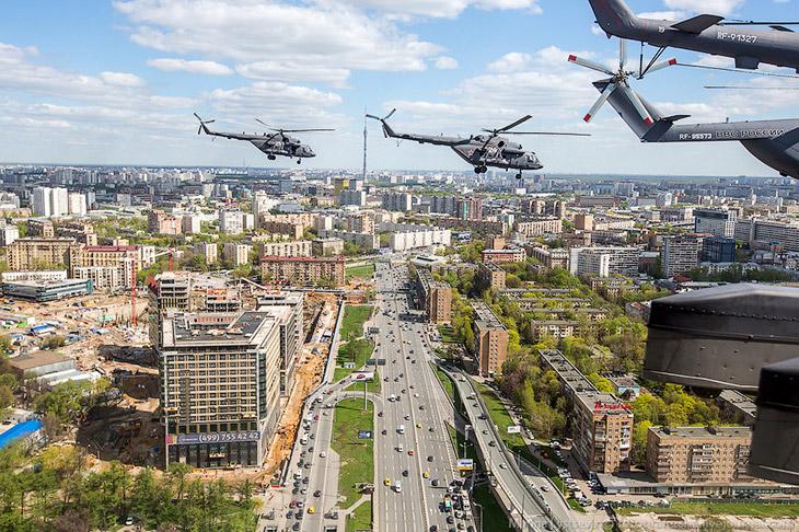Воздушная часть репетиции парада над Москвой