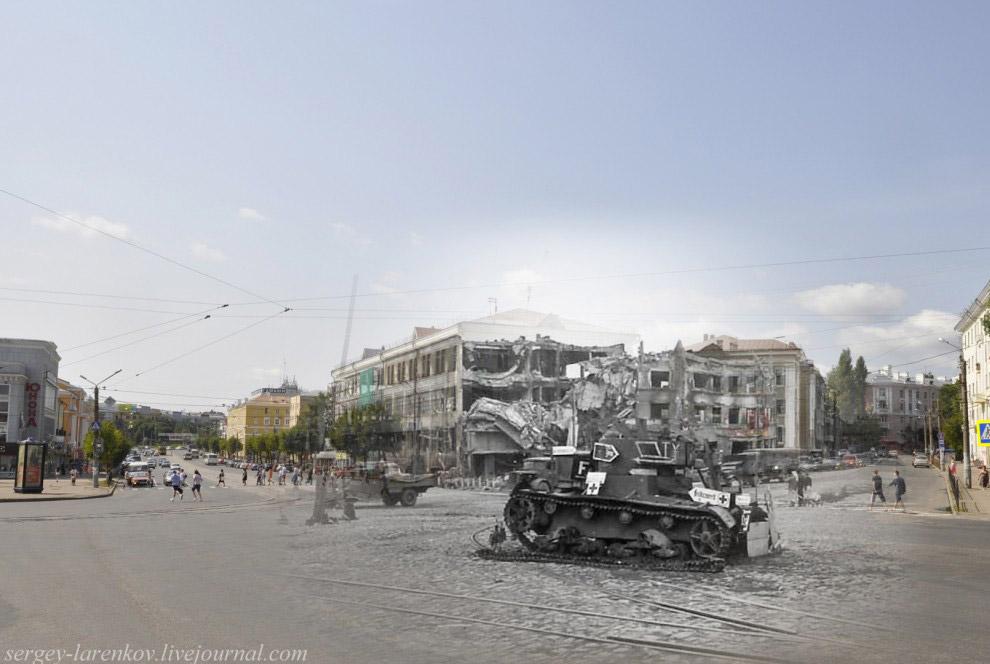Площадь Победы, подбитый танк Т-26