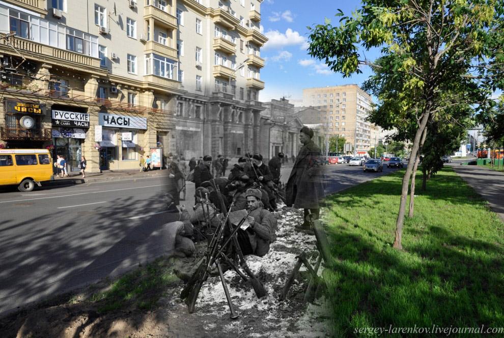 Бойцы народного ополчения перед выходом на рубежи обороны столицы
