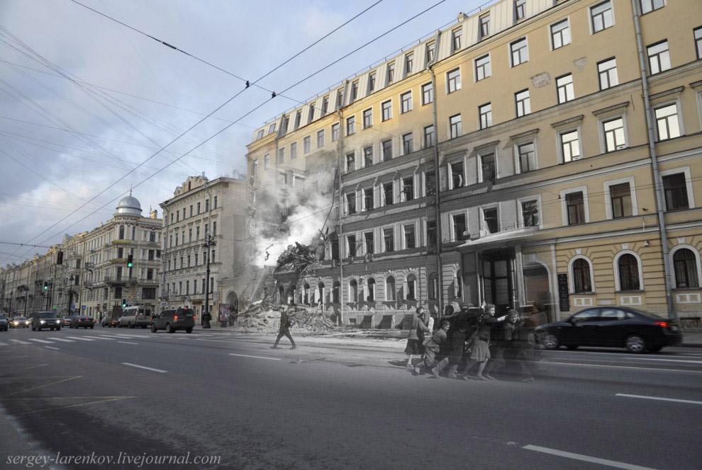 У разрушенного здания школы на Невском проспекте