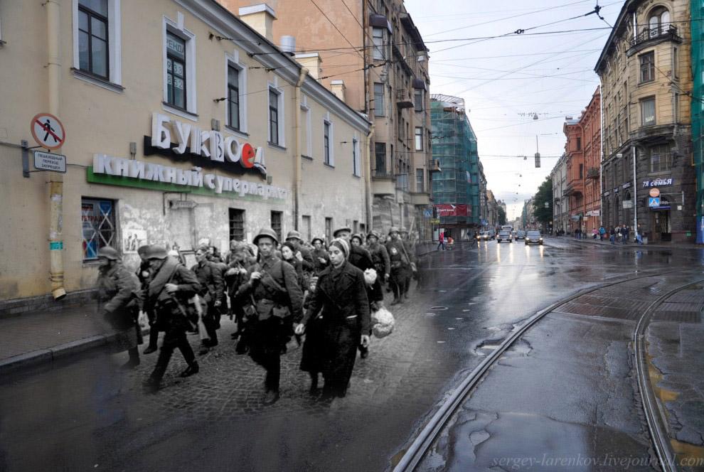 Угол Загородного проспекта и Звенигородской улицы.Части народного ополчения уходят на фронт