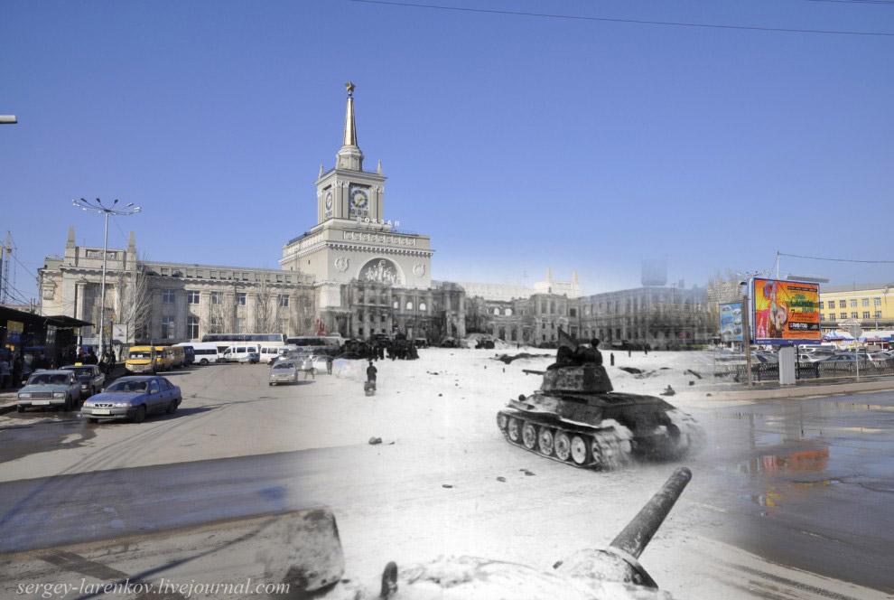 Советские танки Т-34 у вокзала