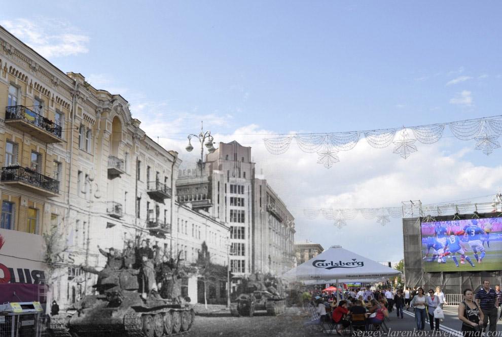 Танки генерала Кравченко, освободившие Киев, проходят по Крещатику