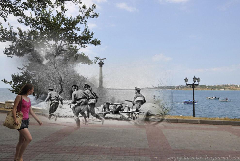 Советская морская пехота на Приморском бульваре