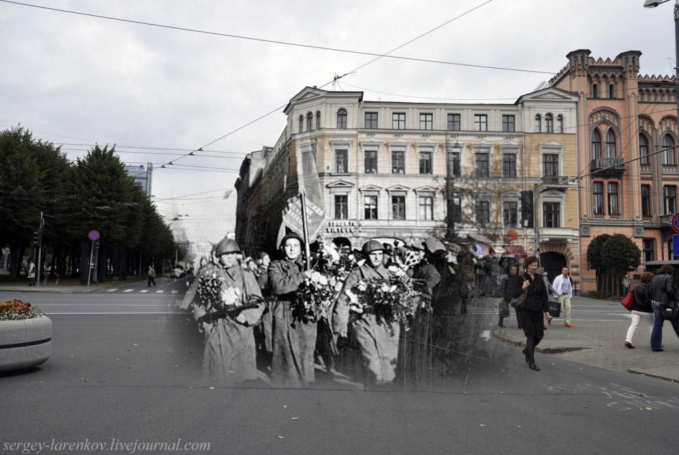 Солдаты 130-го Латышского стрелкового корпуса вступают в Ригу, 16 октября 1944 года