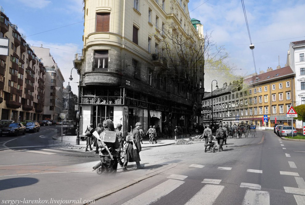 Стрелковые части продвигаются к центру Вены по ул. Фаворитенштрассе