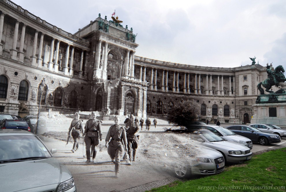 Советские солдаты у королевского дворца Хофбург