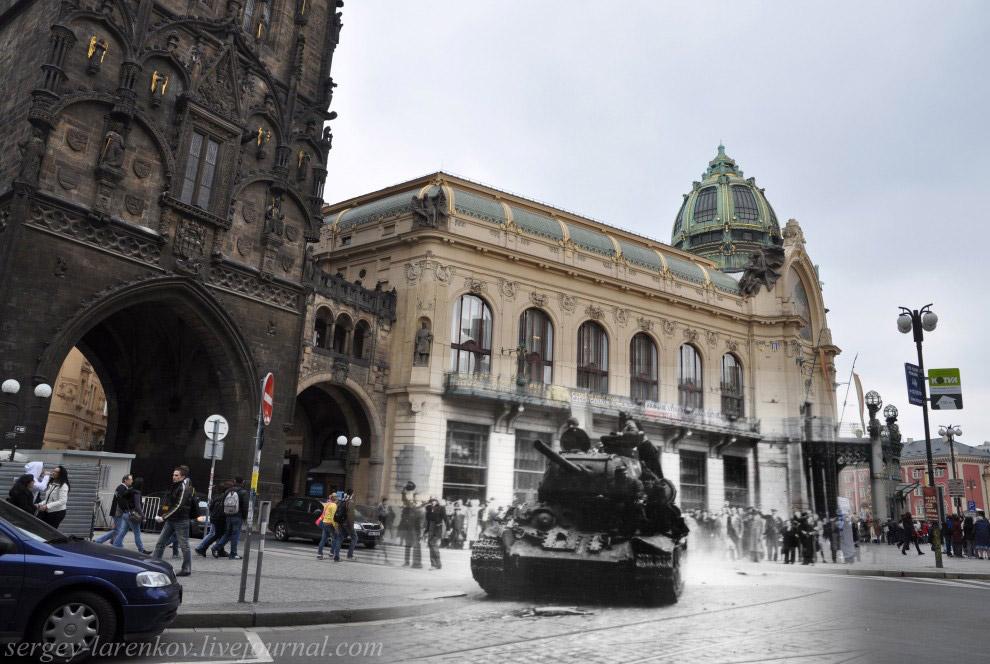 Пороховая башня. Жители Праги приветствуют Красную армию, прогнавшую гитлеровцев