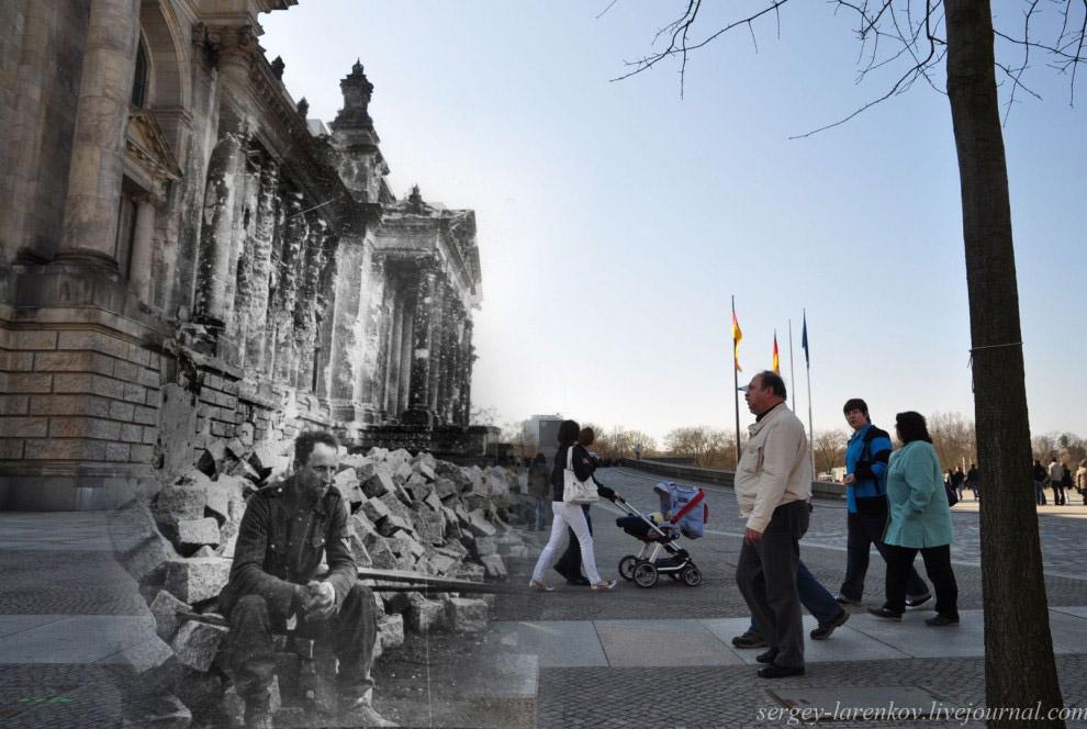 Немецкий солдат у поверженного Рейхстага