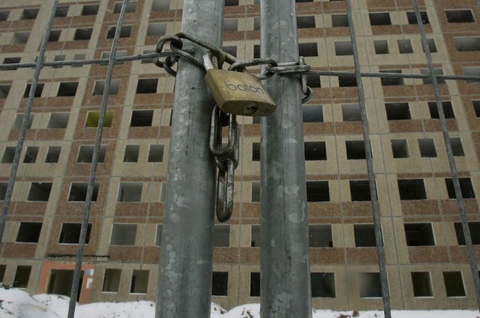 Заброшенная стройка в городе Шведт в Германии