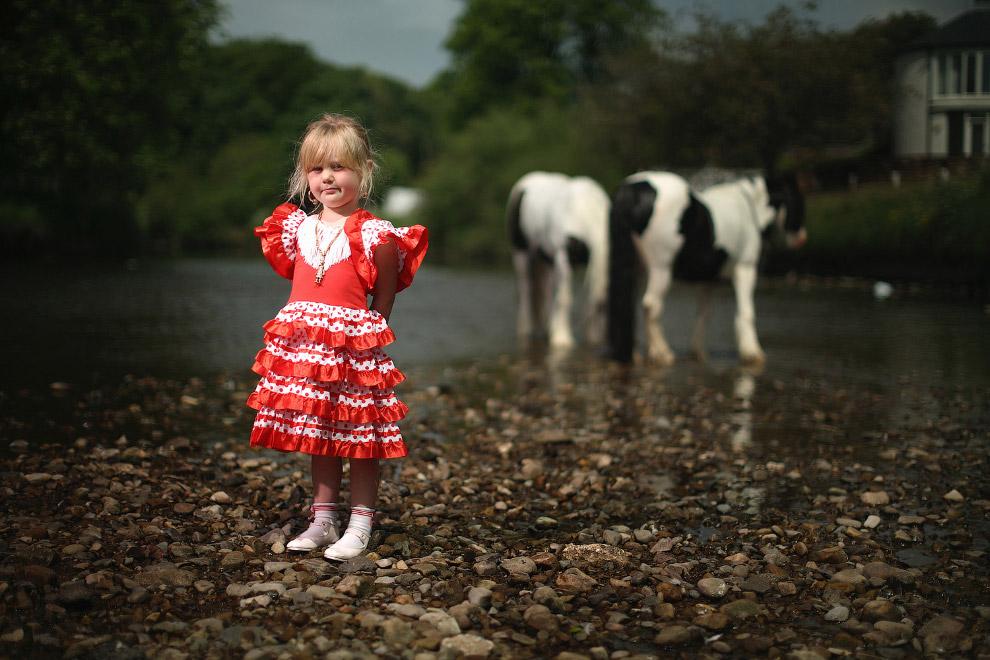 3-летний посетитель на ярмарке лошадей