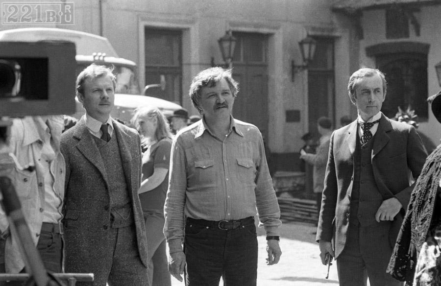 В. Соломин, И. Масленников, В. Ливанов на съёмках «Шерлока Холмса и доктора Ватсона», 1979 год