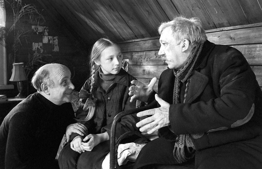 Ролан Быков, Кристина Орбакайте и Юрий Никулин на съёмках фильма «Чучело»