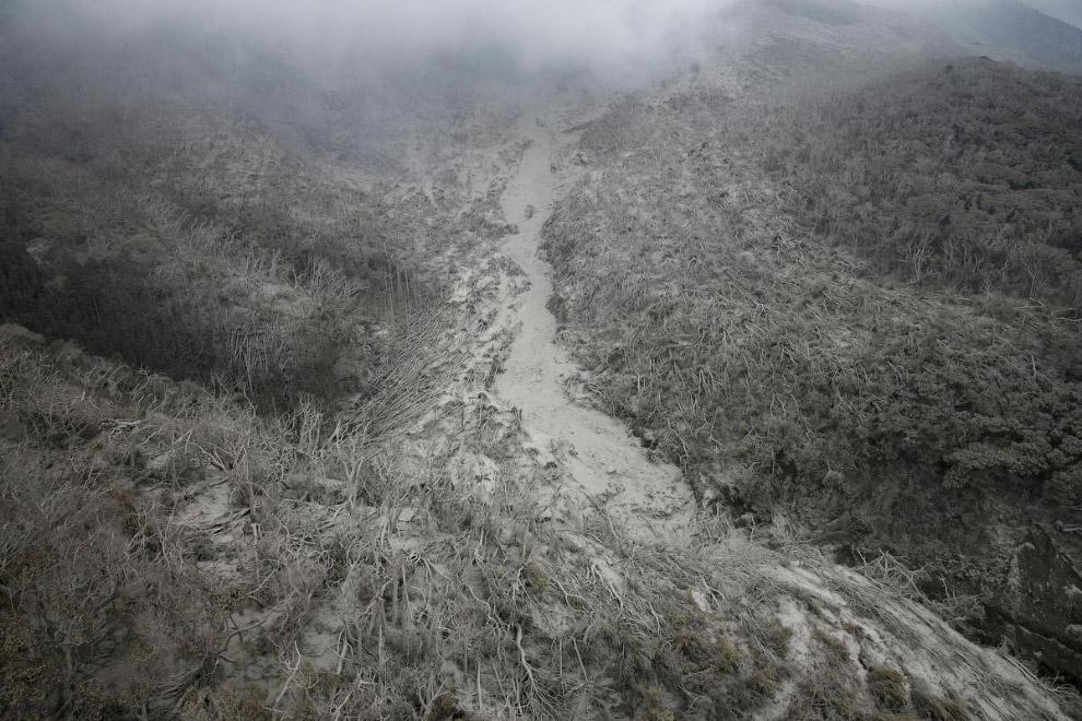 Пирокластические потоки из вулкана