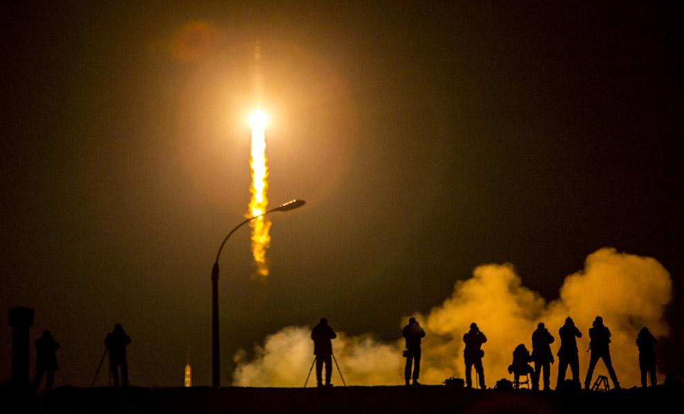 Старт космического корабля Союз ТМА-16М с космодрома Байконур, Казахстан