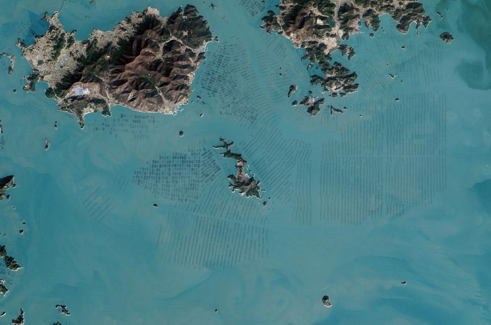 Вид на побережье Южной Кореи из космоса