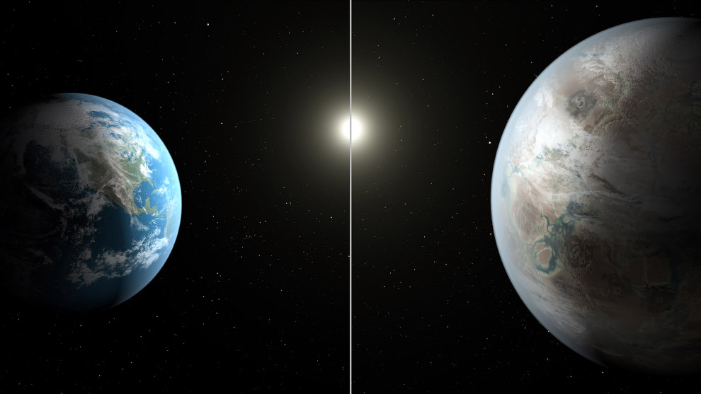 Слева — Земля, справа — новая планета Kepler-452b