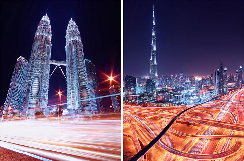 Слева — Куала-Лумпур, Малайзия, справа — Дубай, Объединенные Арабские Эмираты
