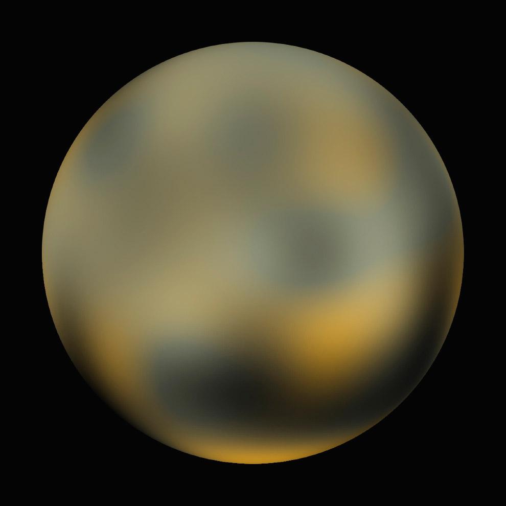 Вид поверхности карликовой планеты Плутон, построенный из нескольких фотографий 2002-2003 года с космического телескопа Хаббла