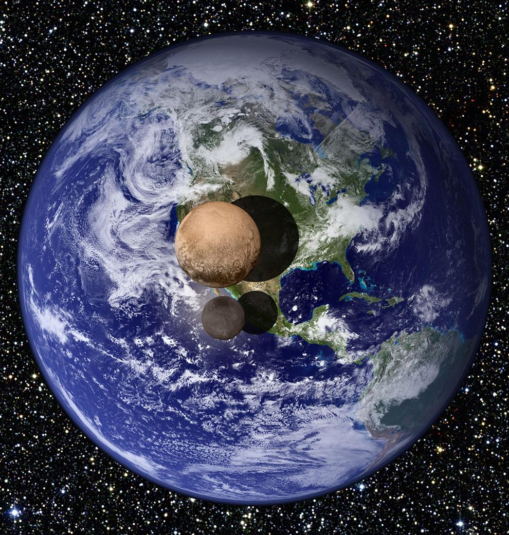Данная картинка позволяет представить размеры карликовой планеты Плутон и ее спутника Харон относительно размеров Земли