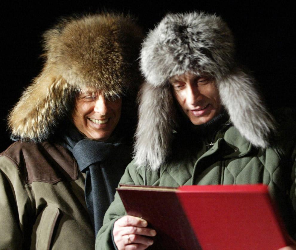 Путин и Берлускони на государственной резиденции Президента РФ «Русь» в Завидово