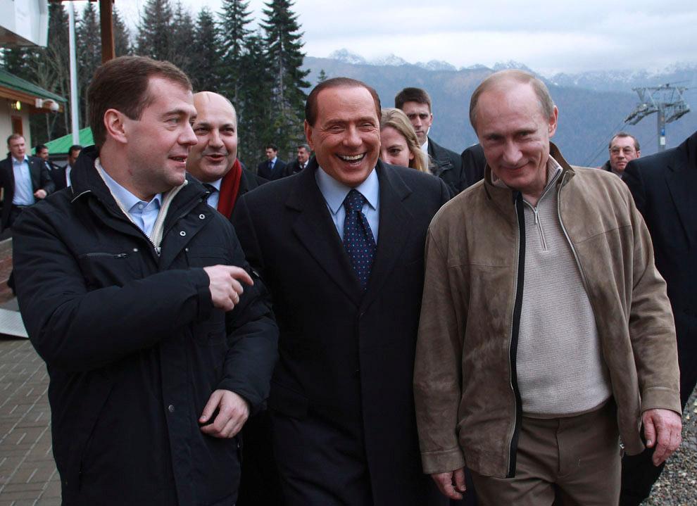 Медведев, Берлускони и Путин