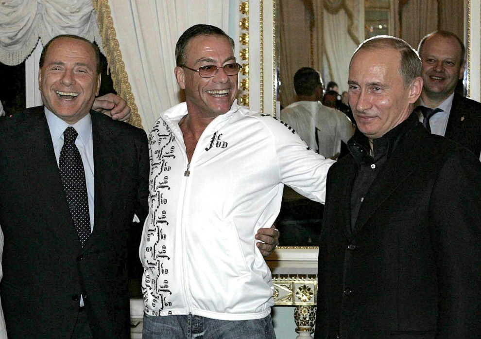 Путин, Берлускони и Ванн Дамм в Константиновском дворце