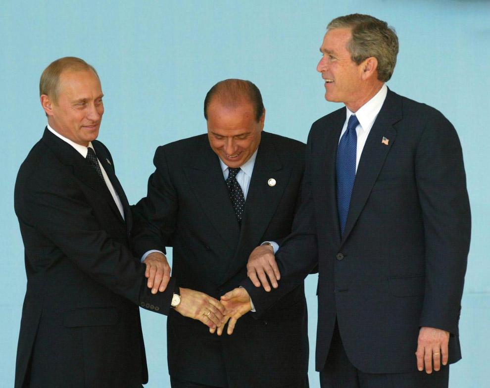 Путин, Берлускони и Джордж Буш