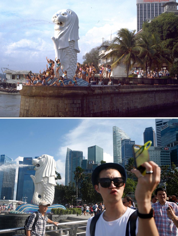 Мерлайон — символ Сингапура, мифическое существо с телом рыбы и головой льва