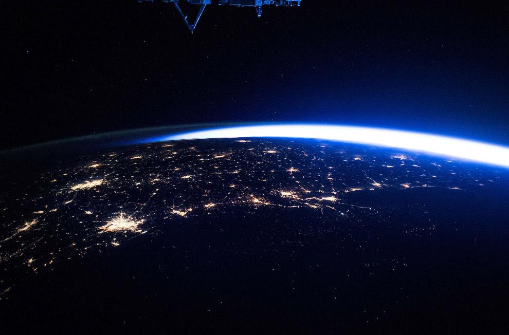 Вид с Международной космической станции над Мексиканским заливом