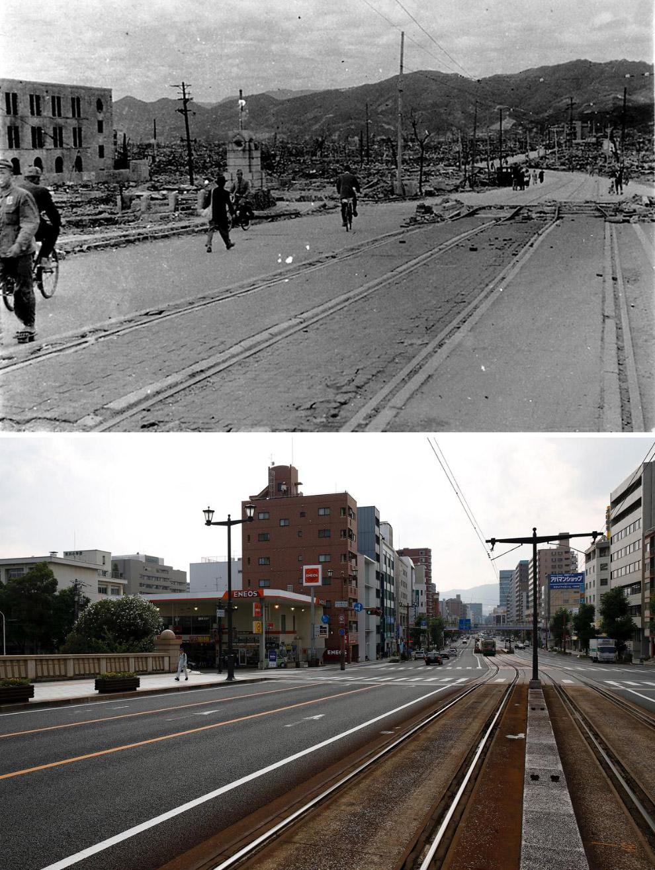 Хиросима в октябре 1945 года и то же место 28 июля 2015