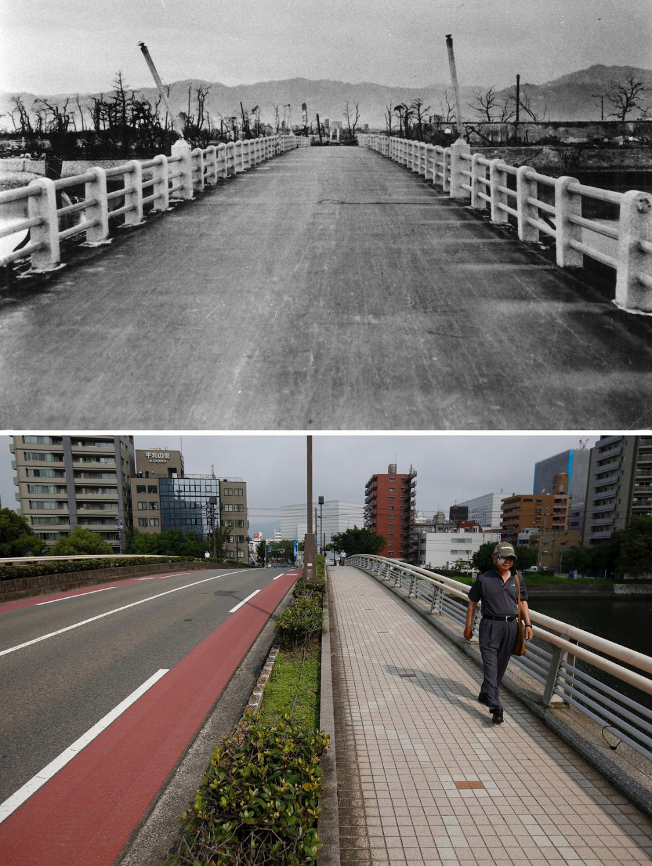 Хиросима в 1945 году и то же место 29 июля 2015