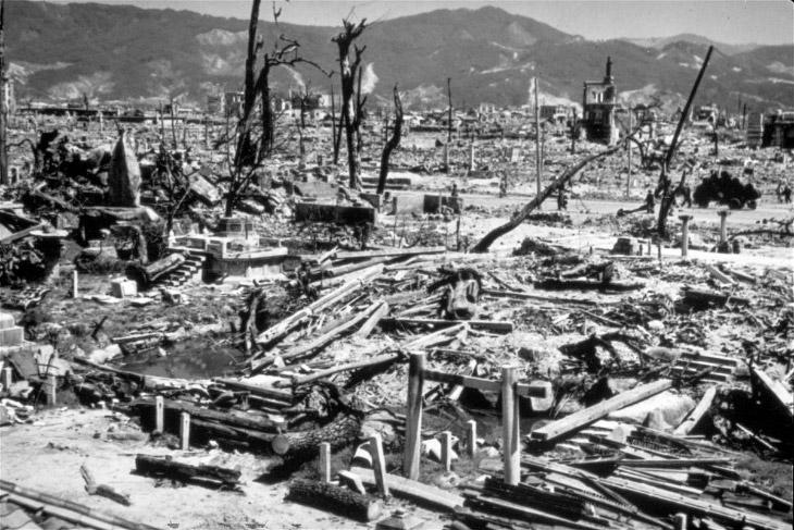 Разрушение от взрыва атомной бомбы в Хиросиме, Япония