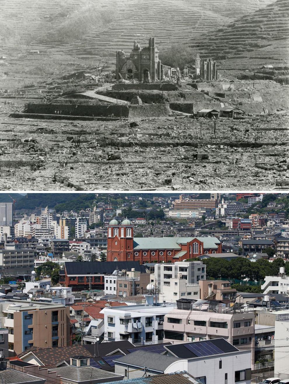 Нагасаки в 1945 году и то же место 31 июля 2015