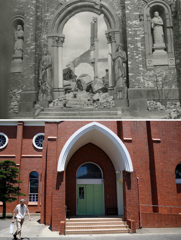 Собор в Нагасаки в 1945 году и 31 июля 2015