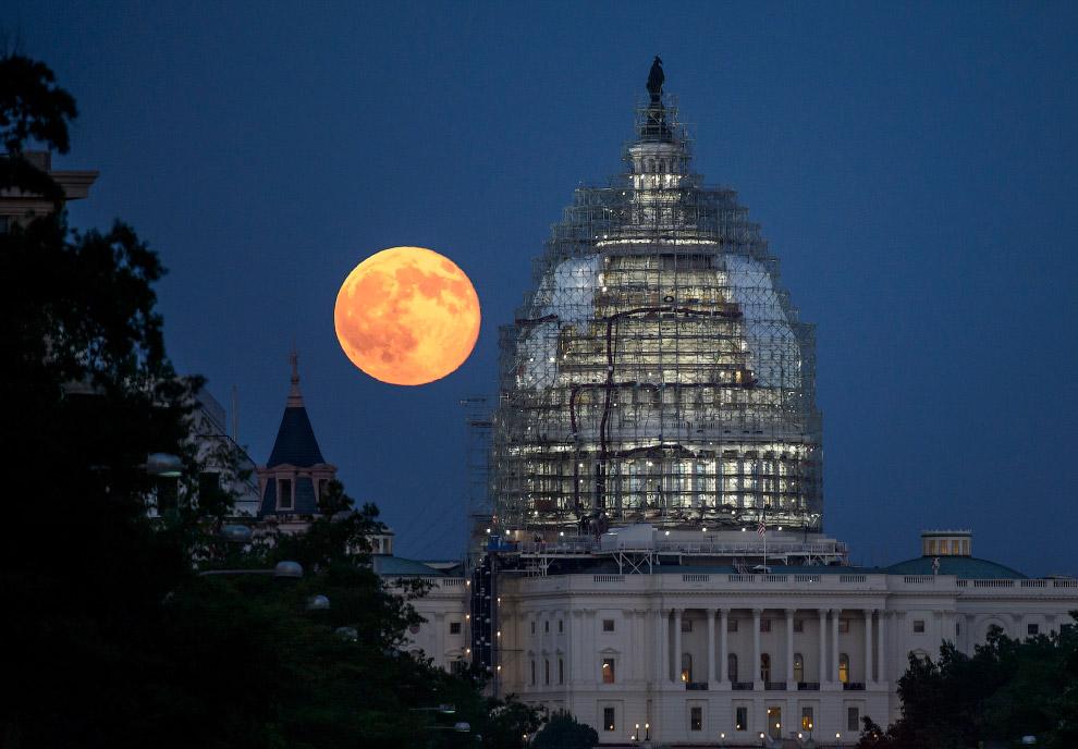 Луна за куполом Капитолия в Вашингтоне, США