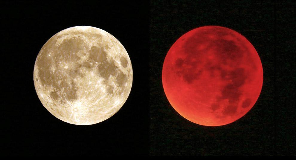 Обычная полная Луна и «кровавая Луна»