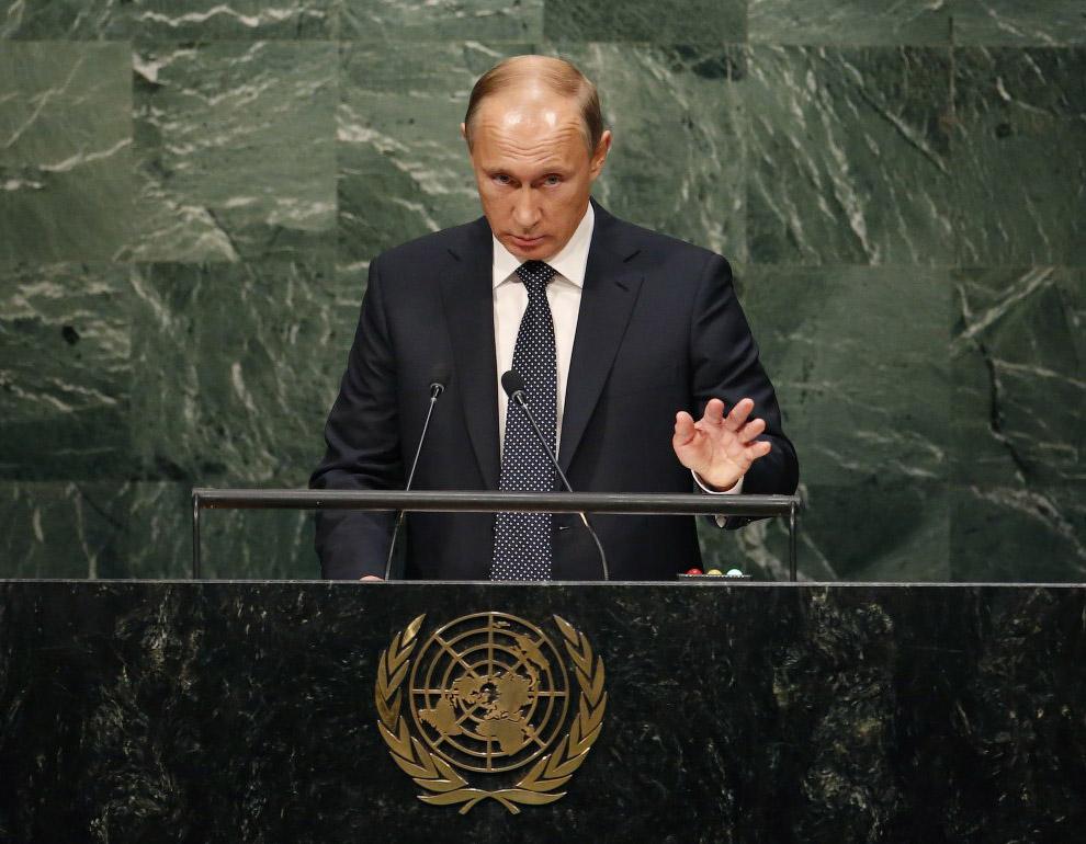 Владимир Путин выступает на 70-я сессии Генеральной Ассамблеи ООН