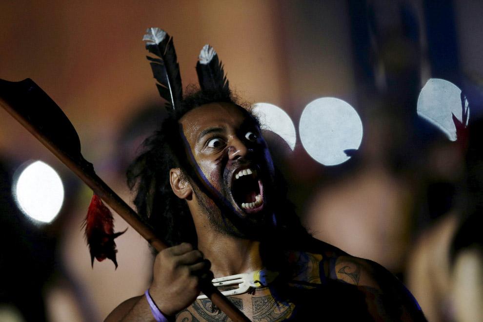 Новозеландец на церемонии открытия Игр