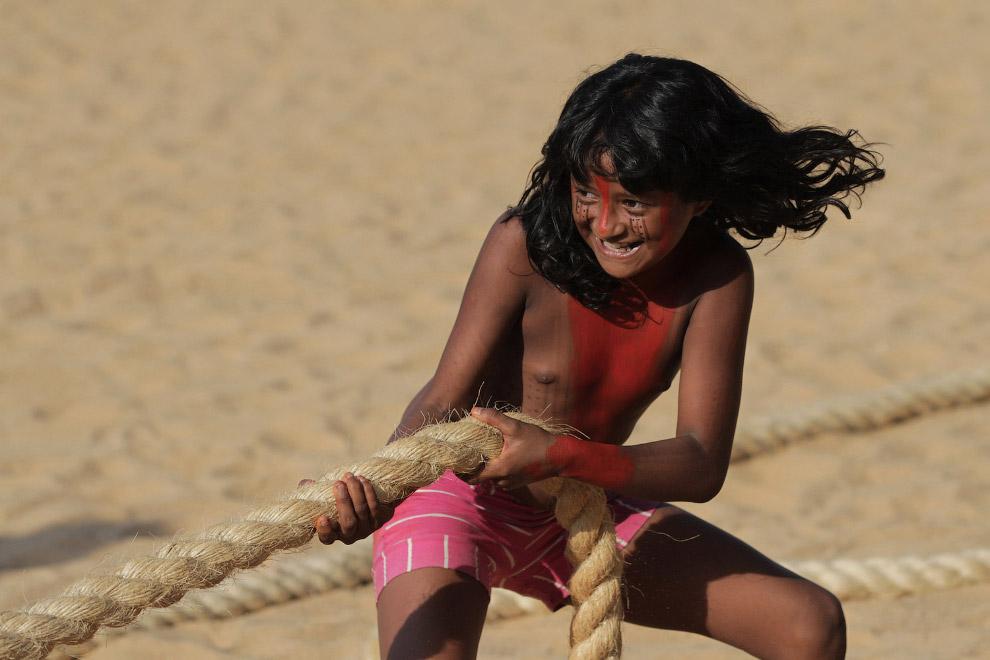 Всемирные Игры коренных народов, Палмас, Бразилия, 2015. Перетягивание каната