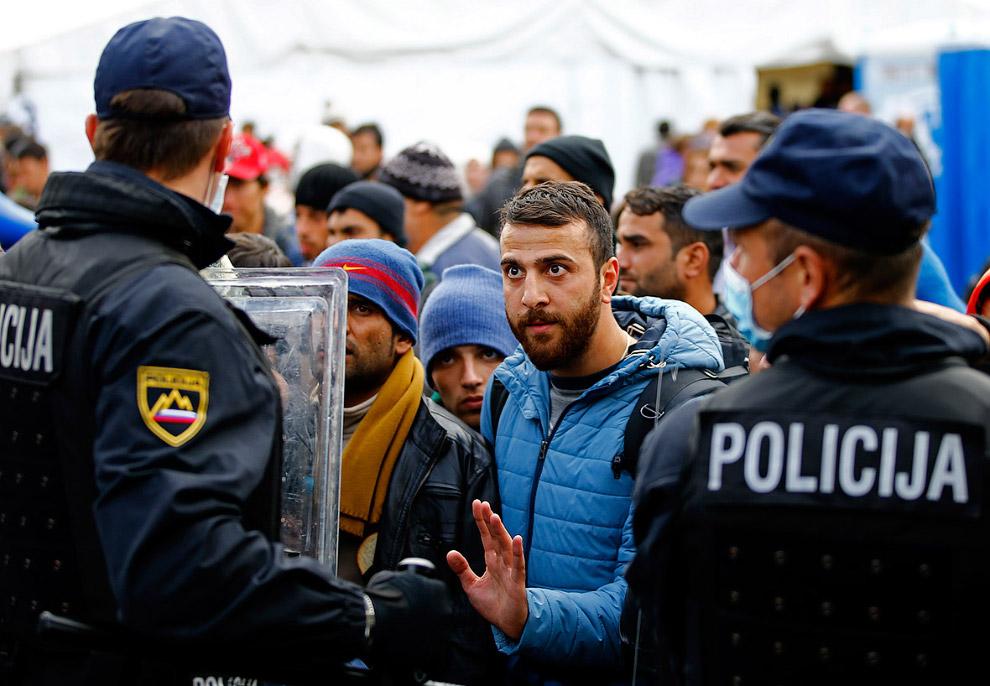 Мигранты в Словении недалеко от австрийской границы